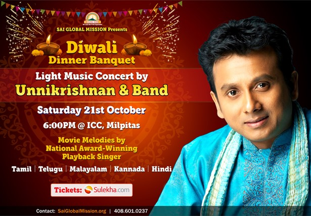 Unnikrishnan Live In Concert With Band and Diwali Dinner Banquet at