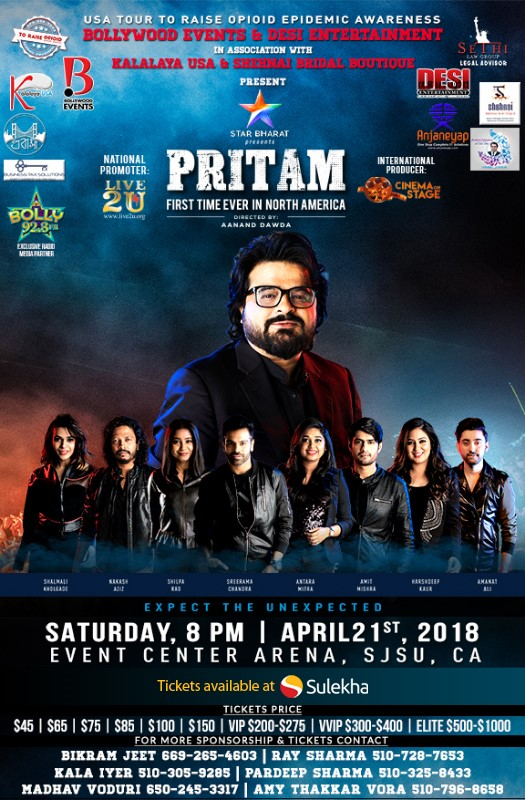 Pritam World Tour Live in Concert Bay Area in Event Center Arena
