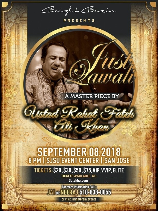 Rhat Fateh Ali Khan Live Concert 2018 Bay Area in Event Center Arena
