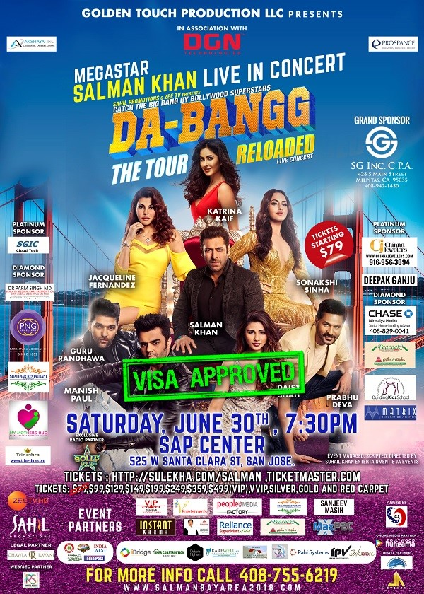 Salman Khan Dabangg 2018 Bay Area & Team Live in Concert in SAP
