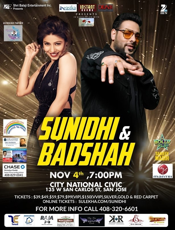 Badshah and Sunidhi Chauhan Live in Concert - Bay Area -All Ages
