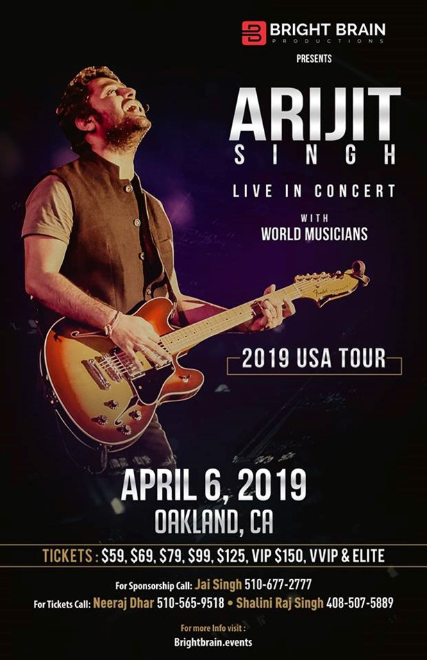 Arijit Singh Live In Concert 2019 Bay Area at Oracle Arena