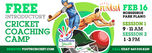 Dallas Youth Cricket League Free coaching camp on Feb 16th