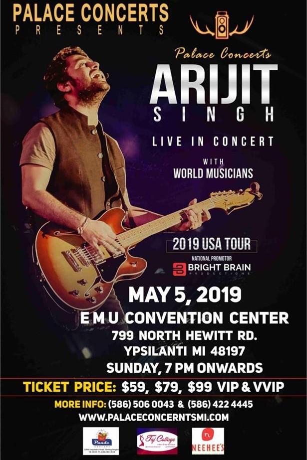 Arijit Singh Live In Concert Detroit 2019 At Calihan Hall Detroit Mi