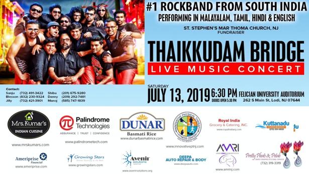 Thaikkudam Bridge Live in New Jersey on Saturday July 13th