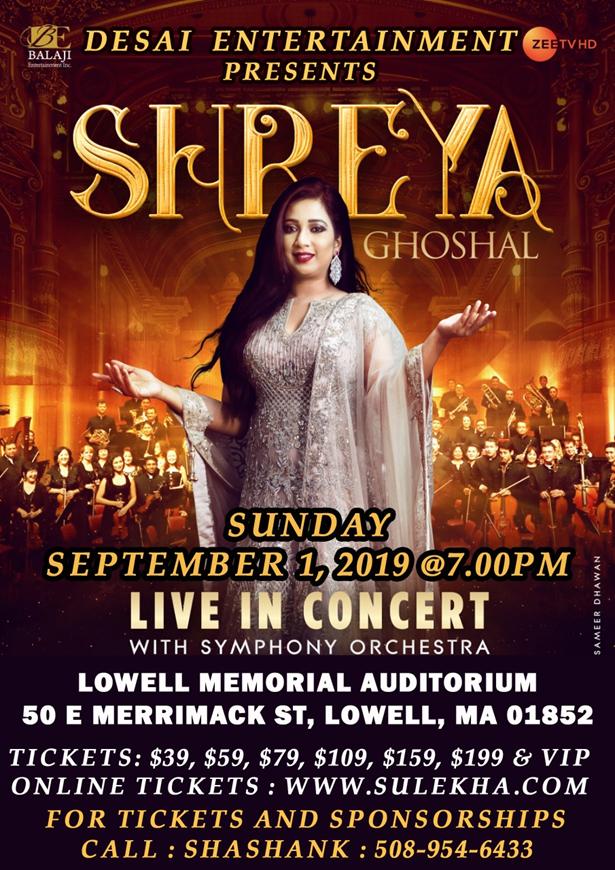 Shreya Ghoshal Live In Concert - Boston at Lowell Memorial
