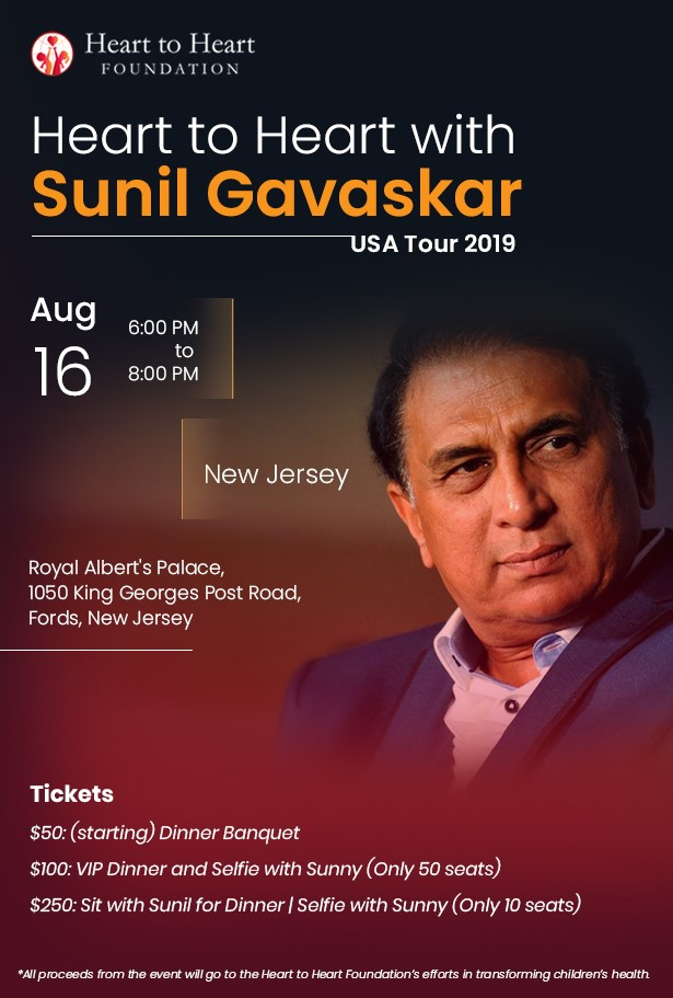 Sunil Gavaskar USA Tour 2019 at Royal Albert Palace, Edison, NJ
