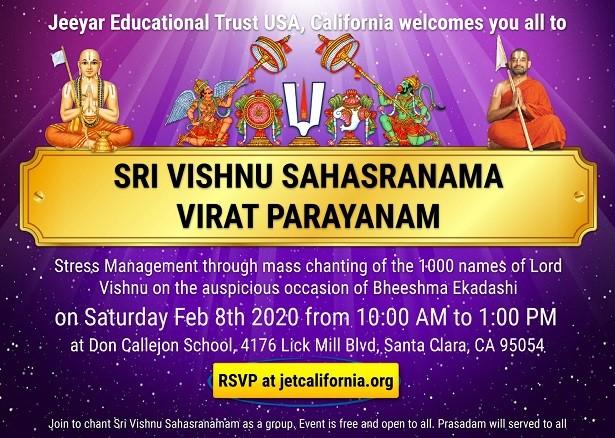 Sri Vishnu Sahasranama Virat Parayanam For Stress Management And Astrological Benefits At Don Callejon School Santa Clara Ca Indian Event