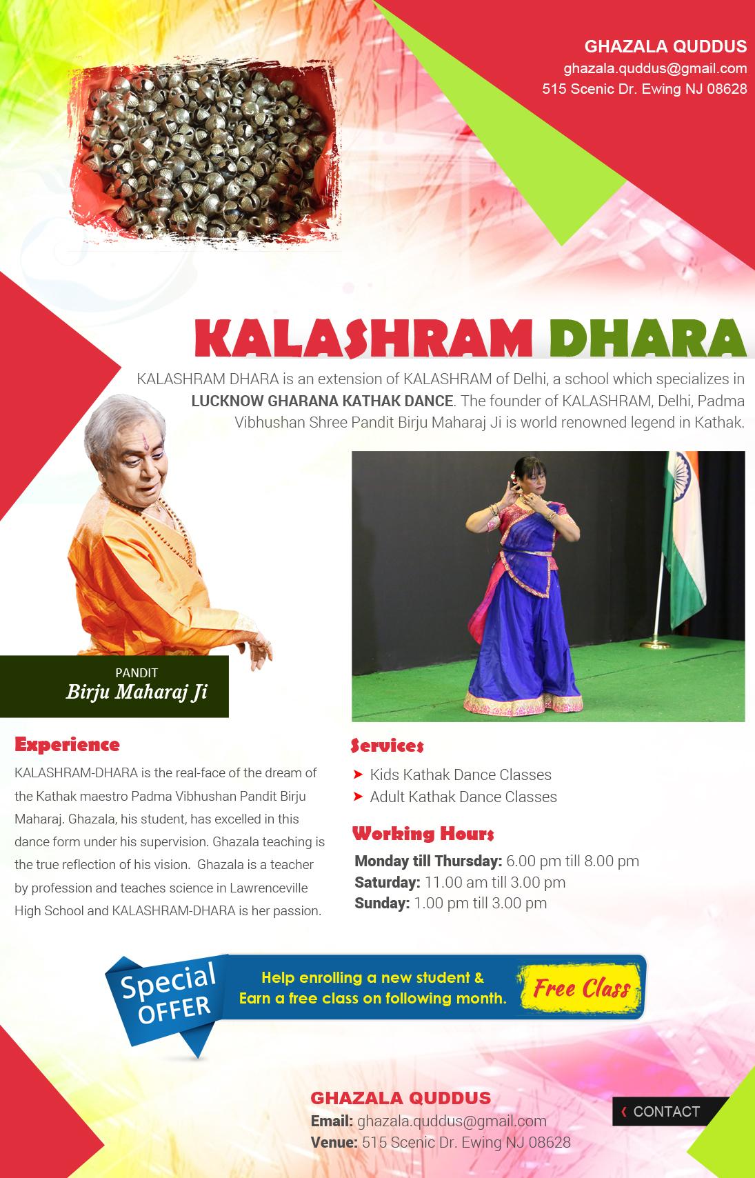 Kalashram Dhara - Dance Lessons - Trenton, NJ | Sulekha